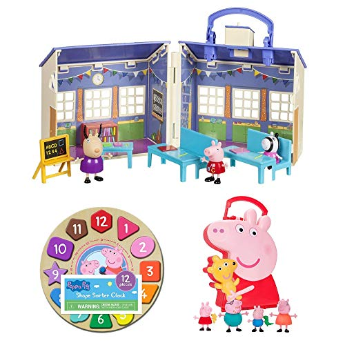 Peppa Pig 12-Piece Shape Sorter Clock Puzzle, School Playset and 4 Figure Figure Carry Case, Learning Toys, Pretend Play, Tell Time, Numbers, Sorting, Imaginative, Social, Early Education, Toddlers -