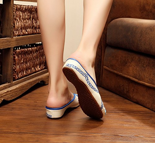 Y&M Zapatos bordados, lenguado de tendón, estilo étnico, flip flop femenino, moda, cómodo, sandalias Blue