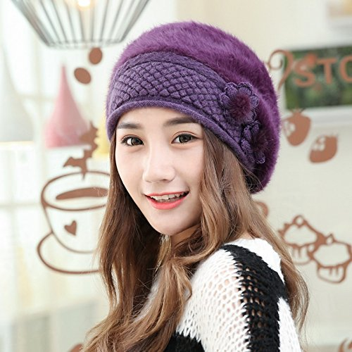 Syksdy Madam Winter Lovely Fashion Warm Beret Wool Hat Knitted Hat Violet