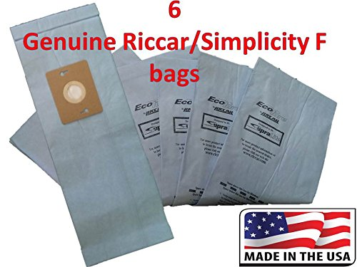 6 Genuine Riccar / Smplicity Type F Ecopure Vacuum Bags (Riccar Supralite Type)