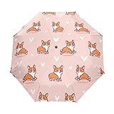 Naanle Cute Corgi Pink Background Auto Open Close Foldable Windproof Travel Umbrella