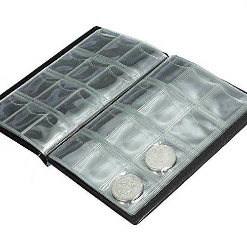caxmtu 120Münzen Halterungen Collection Aufbewahrung Geld Penny Album Buch Taschen Weihnachten Geschenke Schwarz