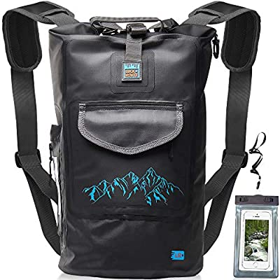 Luck route Waterproof Dry Bag with Backpack Straps and Pockets - Floating DryBag for Beach - Sack for Kayaking Boating or Fishing