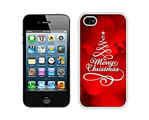 Hot Sell Design Iphone 4S Protective Skin Case Merry Christmas White iPhone 4 4S Case 23
