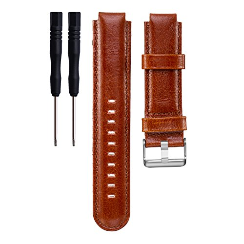 I-SMILE Garmin Forerunner Bands, Replacement Leather Bands for Garmin Forerunner 220/230/235/620/630/735, Pin Removal Tools include(No Tracker, Replacement Bands Only)