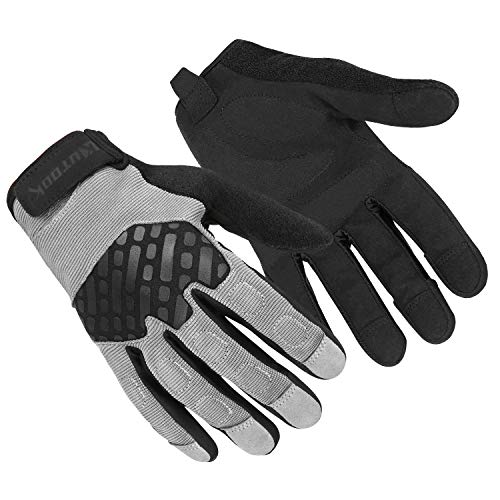 Kutook Shooting Gloves Men Fit Work Gloves Mens Bike Gloves Grey Medium