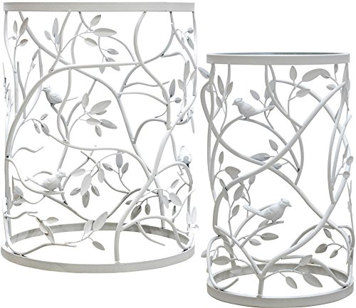Palais Furnishings Feuilles' Side Table, Metal Barrel End Table, (Branch & Bird Design White - Set of 2) (Barrel Table Coffee 1 2)