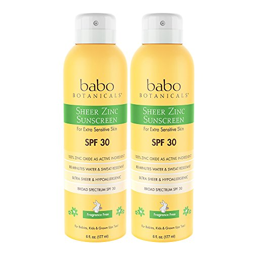 - Babo Botanicals Sheer Zinc SPF 30 Natural Continuous Fragrance Free Sunscreen Spray, Unscented, 6 Fluid Ounce (Pack Of 2)