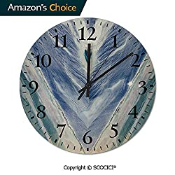 PUYANG Old Fashioned 12 Inch Round Hanging Wall Clock, Onyx Stone Tribal Style with Color Elements Agate Authentic Battery Operated, Rustic Wall Decor for The Living Room, Kitchen, Bedroom, and Patio