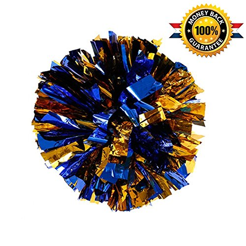BCLAND Pack of 2 Metallic Foil & Plastic Ring Pom Poms (blue with gold)