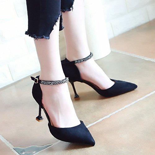 Xue Qiqi Pumps Sandalen Schuhe Frauen Schuhe Punkt Licht - Einzelne Schuhe Flachbild-Stil Fein mit High Heels