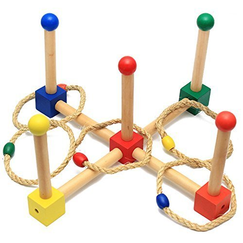Ring Toss Game - Wooden Ring Toss Set for Camping/Carnival/Outdoor/Lawn/Party/Yard - with Carrying Bag by Tenaly