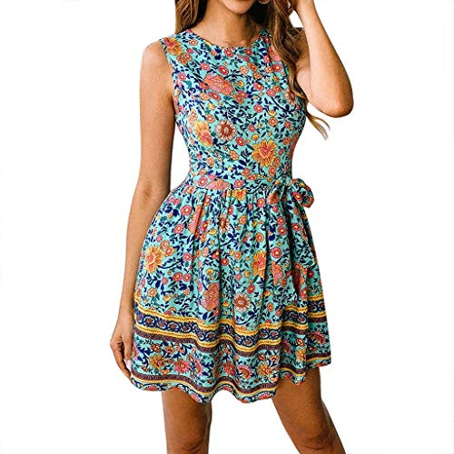 - Shusuen Women's Summer Wrap V Neck Bohemian Floral Print Ruffle Swing A Line Beach Mini Dress with Belt Sky Blue
