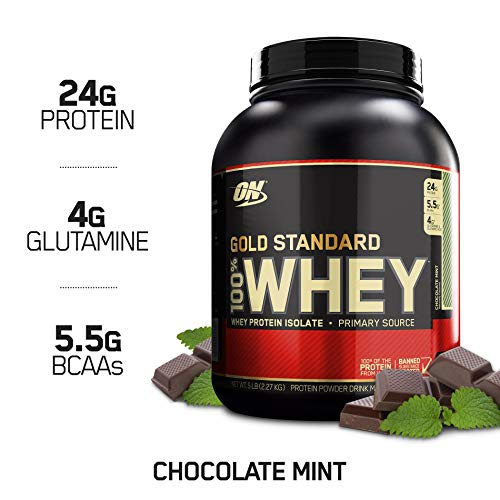 OPTIMUM NUTRITION GOLD STANDARD 100% Whey Protein Powder, Chocolate Mint, 4.94 Pound (Package May Vary)