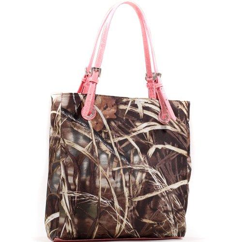 Realtree Oversized Classic Square Camouflage Leather Like Tote Bag Handbag w/ Belted Straps - Light Pink Trim (Handbag Tote Belted Pocket)