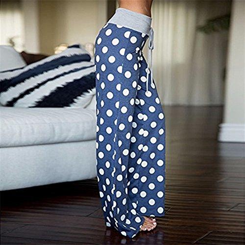 Pantaloni Pantaloni High Dots Fashion Palazzo Yoga Baggy Stampa Blau Waist Fiore Donna Donne Polka Coulisse Di Tempo Con Vintage Pantaloni Pantaloni Estivi Unique Libero Pantaloni Classiche Sciolto Fashion rSqAOr