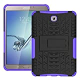DWay Armor Case Tab S2 8.0 T710 Hybrid Design with Stand Feature Detachable Dual Layer Protective Shell Hard Back Case Cover for Samsung Galaxy Tab S2 8.0inches SM-T710 / T715 (Purple)