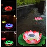 Firefly Trendy Hip Unique Waterproof Solar Floating LED Lotus Light, Color-changing Flower Night Lamp /Pond /Garden/house Lights for Pool /Party Fancy Ideal Novel Creative Gift for Christmas (MULTI, 1)