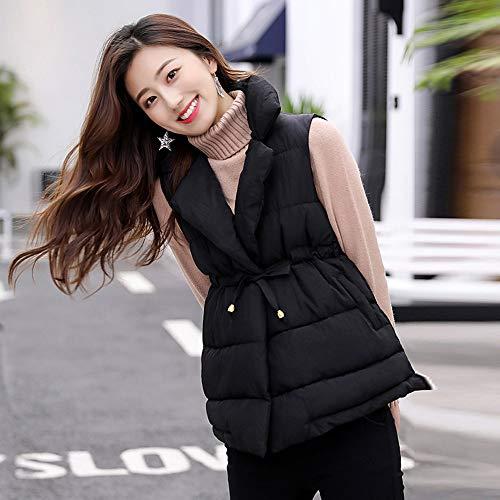 DOLDOA Jackets Warm Short Outerwear Thick Cotton Zipper Padded Coats Overcoat Slim Sleeveless Balck Womens 1BrH1gZ
