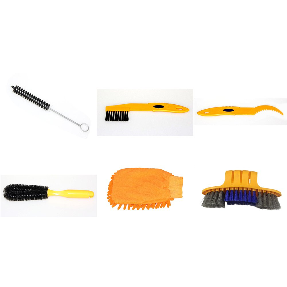osierr6 6pcs Bike Cleaning Tool Set,Bicycle Clean Brush Kit with Tyre Brush,Gap/Corner/Comprehensive Brush, Freewheel Hook and Gloves for Bike Chain/Tire/Sprocket Cycling Corner Stain Dirt Clean