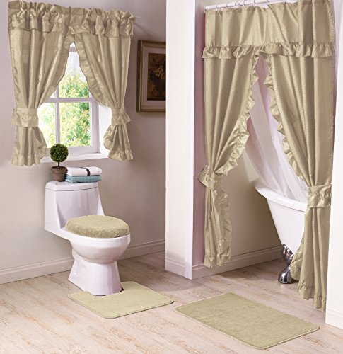 Madison Starlite Deluxe Swag Shower Sand Bathroom Window Curtain,