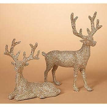 145 inch high set of 2 gold rhinestone deer christmas reindeer in glittered rhinestone - Christmas Reindeer 2