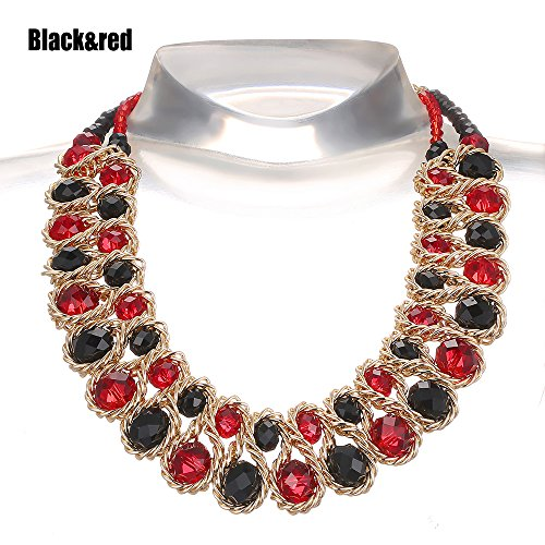 AWAYTR Ladies Choker Necklace Gold Tone Fashion Statement Big Multi Color Crystals Black&Red (Red Gold Necklace)