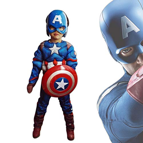 MEET Captain America Classic Muscle Costume (Large) Blue]()