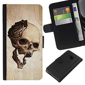 EJOY---La carpeta del tirón la caja de cuero de alta calidad de la PU Caso protector / HTC One M7 / --Cráneo Rose Art Muerte huesos de Halloween