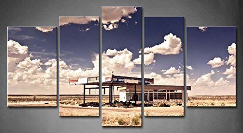 First Wall Art - 5 Panel Wall Art Old Gas Station In Ghost Town Along The Route 66 At Border Of The Desert Painting Pictures Print On Canvas Car The Picture For Home Modern Decoration piece (Stretched By Wooden Frame,Ready To Hang) Route 66 Gas Stations