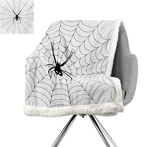 ScottDecor Spider Web Berber Fleece Blanket,Poisonous Bug Venom Thread Circular Cobweb Arachnid Cartoon Halloween Icon,Black White,for Bed/Couch/Chair in Livingroom or Bedroom W59xL31.5 Inch]()