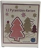 Biedermann 4-Inch Pyramid Candles, Red, Box of 12