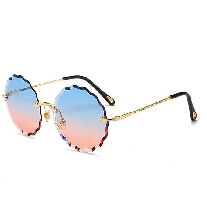 Yangjing-hl Gafas de Sol Redondas Mujer Diseñador de Marca ...