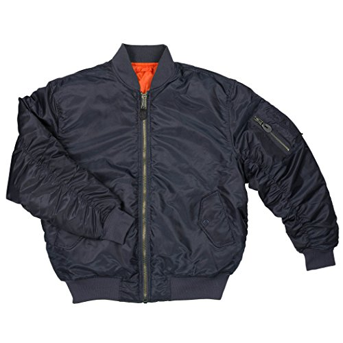 Men's MA-1 Spring Reversible Flight Bomber Pilot Jacket-MA6-Nv-Md Blue ()