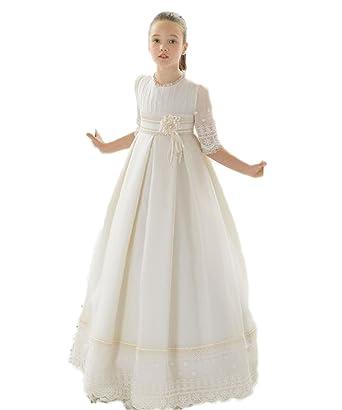 Amazon cocogirls girls first communion dresses lace half sleeve cocogirls girls first communion dresses lace half sleeve flower girl dresses 2 ivory mightylinksfo