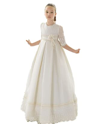 3f53252bd33e Amazon.com: CoCoGirls Girls First Communion Dresses Lace Half Sleeve Flower  Girl Dresses: Clothing