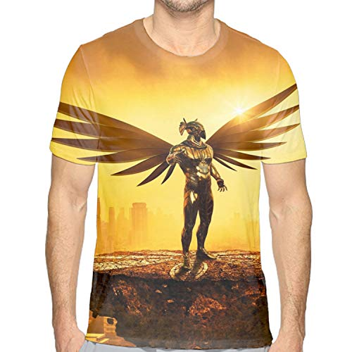 (Summer Short Sleeve Men Top Tee Shirts Fantasy Golden Angel Graphic T-Shirts)