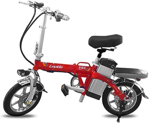 Hxl Bicicletas electricas Bicicleta eléctrica portátil Plegable Inteligente de Aluminio de 14 con 48v batería de Iones de Litio E-Bike 400w Motor Potente Máximo,Rojo,130KM: Amazon.es: Hogar