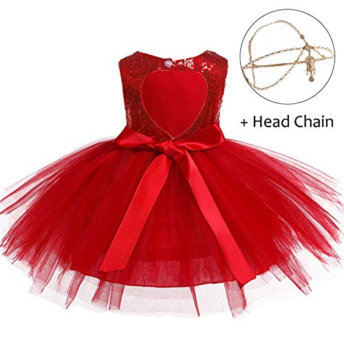 (Baby Girls Dress Princess Lace Tulle Tutu Dress Sleeveless Sequins Birthday Wedding Party Tulle Dresses with Head Chain (1-2 Years(Tag 90), Passionate Red(with Head Chain)))