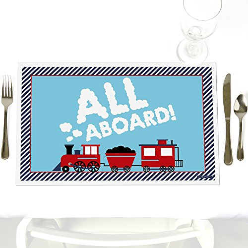 (Railroad Party Crossing - Party Table Decorations - Steam Train Birthday Party or Baby Shower Placemats - Set of 12)