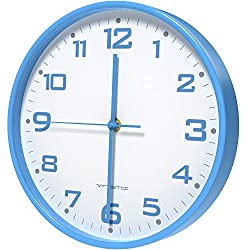 Vremi 10 inch Silent Universal Round Wall Clock - AA Battery Operated Easy to Install Non Ticking Indoor Decorative Easy Read - Colorful Analog Clock Great for Home Office Classroom or Garage - Blue