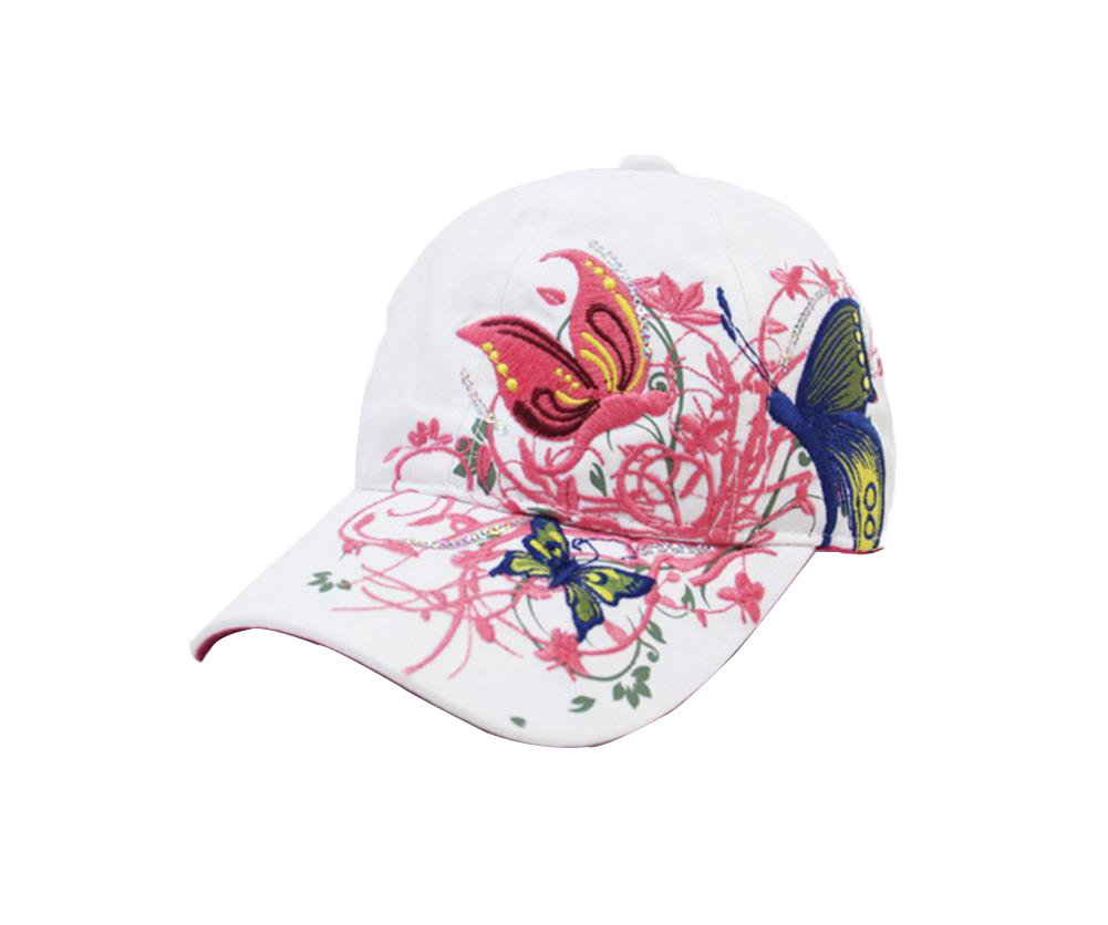 Emorias 1 X Womens Ladies Girls Fashion Comfortable Butterfly Embroidered Baseball Caps Leisure Outdoor Hiking Camping Traveling Hat