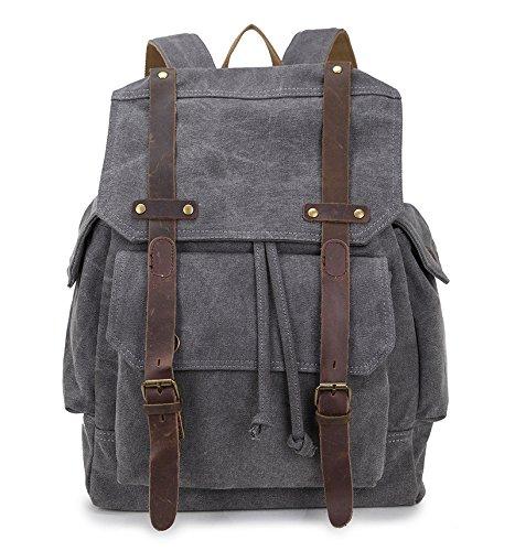 BAGEHUA 若いレトロキャンバスバックパックには、大容量のバックパックのために男性と女性は、耐久性の高いレジャー旅行、ピクニックバックパック、高 46 cm 、幅 32 cm 、厚さ 11 cm 5 色 B076KN65FVLight grey
