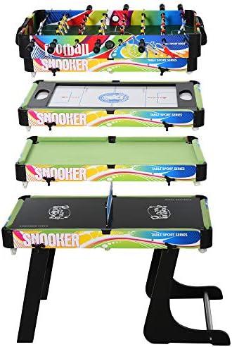 HOMCOM Mesa Multijuegos Mesa de Juegos Diseño 4 en 1 Futbolín Aire Hockey Billar Ping-Pong Sobremesa para Niños y Adultos Accesorios Incluidos Diversión 86,5x43,5x64 cm: Amazon.es: Juguetes y juegos