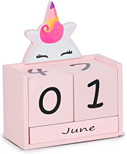 Children's calendar block, wooden perpetual calendar, home desk decoration, gifts for boys and girls.
