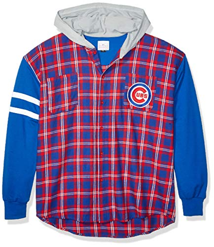 FOCO MLB Chicago Cubs Men's Lightweight Flannel Hooded Jacket, Large, Team Color ()