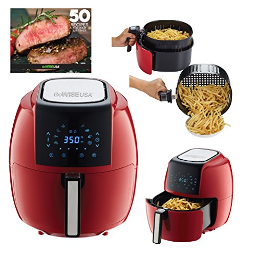 Gowise Usa 5 8 Quart Programmable 8 In 1 Air Fryer Xl   Recipe Book  Chili Red