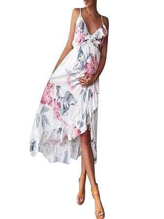 4d3e6fbcf2fe4 Vanvler Maternity Dress Clearance! { Pregnant Clothes Summer } Sexy Women  Floral Print Dress Falbala