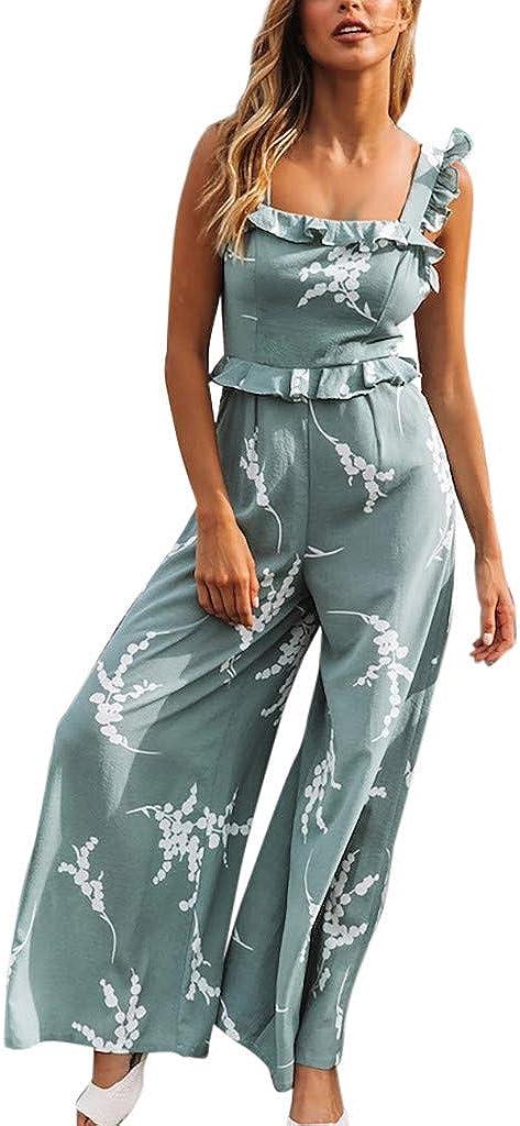 Satingdianzi Women Print Ruffled Strap Wide-Leg Pants Slim Casual Sleeveless Playsuit Long Jumpsuit