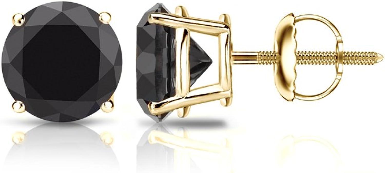 14K Yellow Gold 0.50Ct//4mm Regular Basket Round Push Back Earrings w//Gift Box !